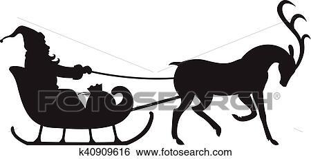 clipart no l silhouette santa quitation sur renne tra neau k40909616 recherchez des. Black Bedroom Furniture Sets. Home Design Ideas