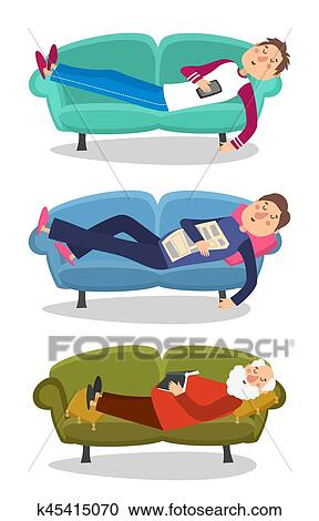 Man Sleep On Sofa Vector Illustration Sleeping Young And Old Men