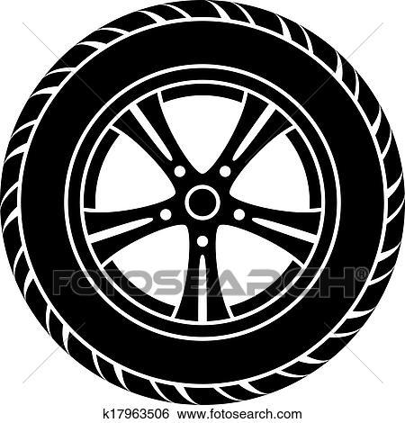 clipart vecteur roue voiture noir blanc symbole k17963506 recherchez des cliparts des. Black Bedroom Furniture Sets. Home Design Ideas