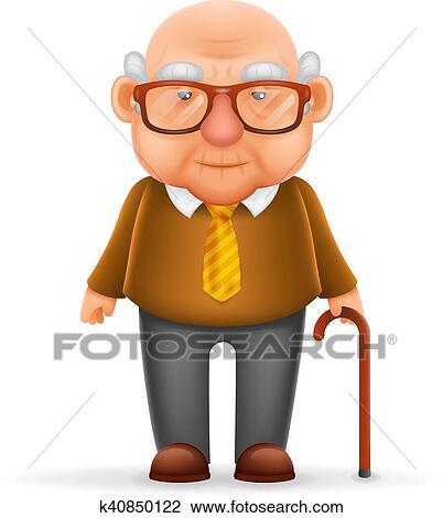 Clipart vieil homme grand p re 3d r aliste dessin anim caract re conception isol - Dessin grand pere ...