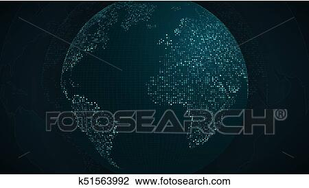 Abstract Planet Earth Blue Map Of The Earth From The Square Points