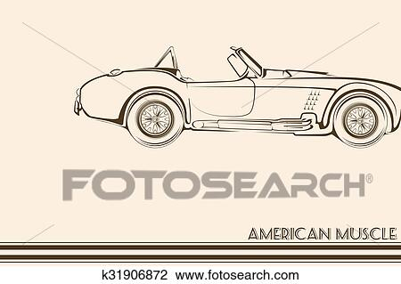 Clipart Of American Muscle Car Silhouette 60s K31906872 Search