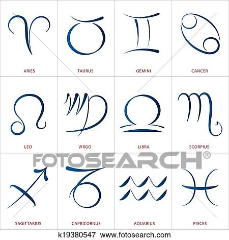Astrology Signs Calligraphy Clip Art