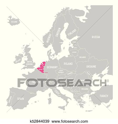 Clip Art Of Benelux States Belgium Netherlands And Luxembourg Pink