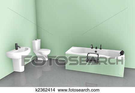 Cuarto de baño, diseño de interiores Colección de ilustraciones ...