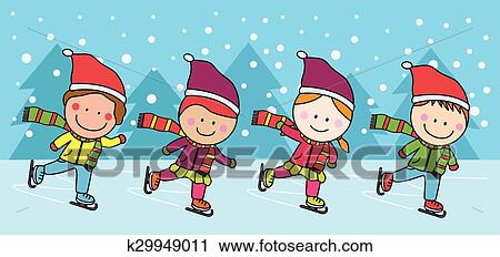 Illustration Of Stickman Kids Ice Skating Outdoors In Winter Royalty Free  Cliparts, Vectors, And Stock Illustration. Image 105475519.