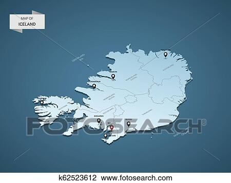 Isometric 3D Iceland vector map concept. Clipart   k62523612 ...