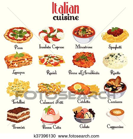 Italian Cuisine Icons Clipart K37396130 Fotosearch