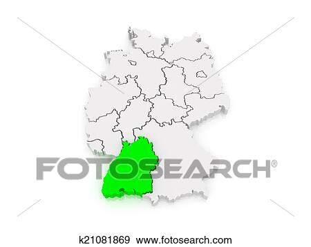 Stock Illustration Of Map Of Baden Wurttemberg Germany K21081869