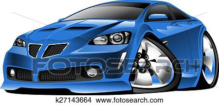 Clipart Of Modern Blue Muscle Car Cartoon K27143664 Search Clip