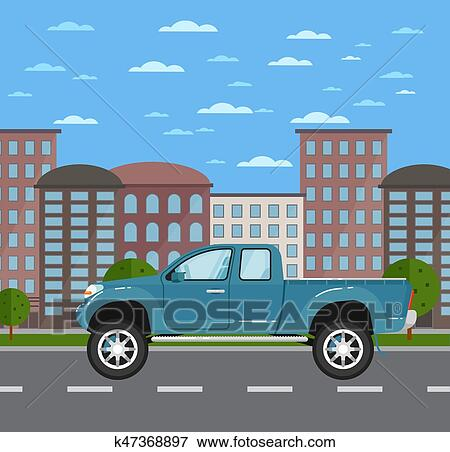 Modern Pickup Truck In Urban Landscape Clip Art K47368897