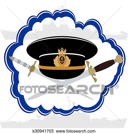 Drawing - Officers cap Russian Navy officer and daggers. Fotosearch - Search  Clipart a62a2fef2020
