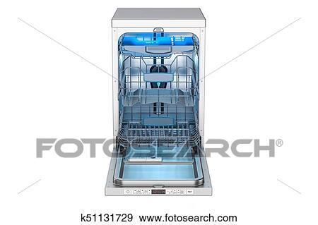 Dishwasher 3D Rendering Isolated On White Background