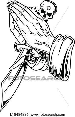 Clipart Of Prayer Hand With Dagger K19484835
