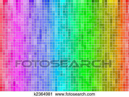 Rainbow Multicolor Abstract Pixel Wallpaper Clip Art
