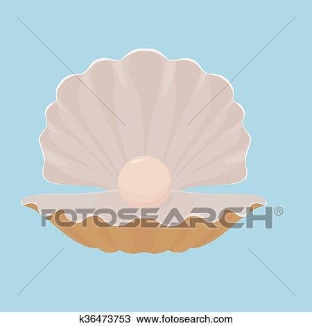 ホタテ貝 貝殻 で 真珠 イラスト クリップアート切り張り