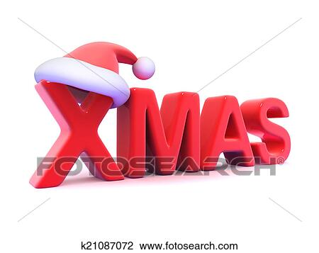 3d Xmas With Santa Claus Hat Drawing