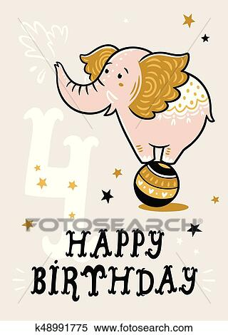 Clipart Of Birthday Card For 4 Year Old Baby K48991775