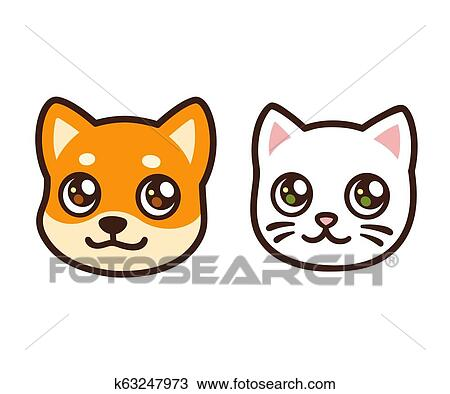 Cartoon Cat And Dog Face Clipart K63247973 Fotosearch