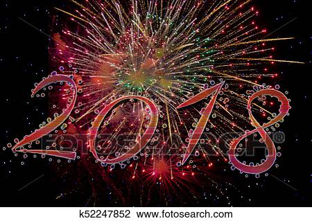 2018 happy new year with fireworks image template