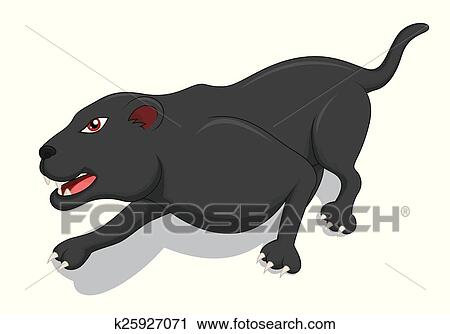 Hungry Black Panther Cartoon Clipart | k25927071 | Fotosearch