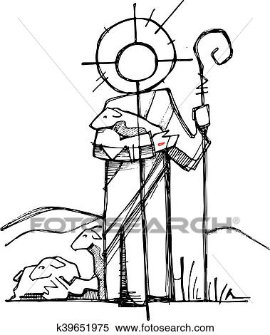 Clipart Of Jesus Christ Good Shepherd K39651975