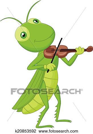 Clipart dessin anim sauterelle a violon k20853592 - Sauterelle dessin ...