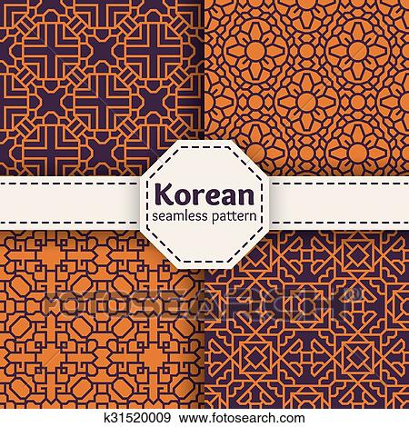 Clip Art Of Korean Or Chinese Tradition Vector Seamless Patterns Set Amazing Asian Patterns