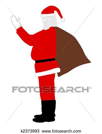santa claus on his way bringing gifts drawing k2373993 fotosearch fotosearch