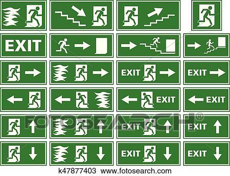 Clipart Of Vector Symbol Set Emergency Exit Sign Fire Alarm