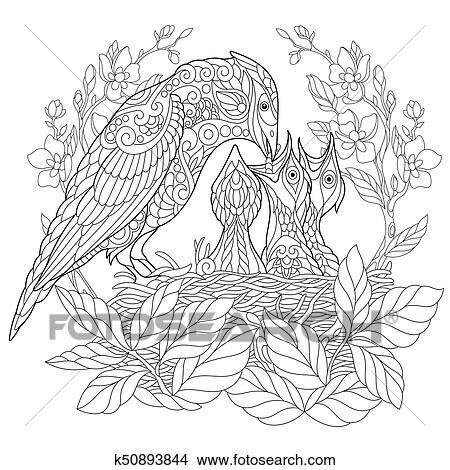 Clipart Of Zentangle Stylized Jay Bird K50893844