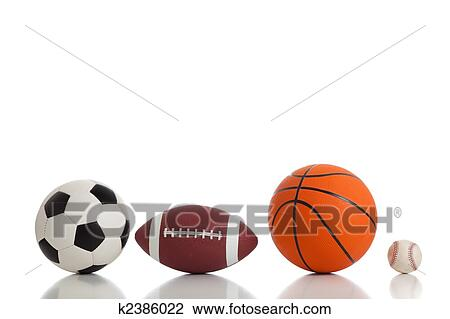 Assorted Sports Ball On A White Background Includes Soccer Football Basketball And Baseball