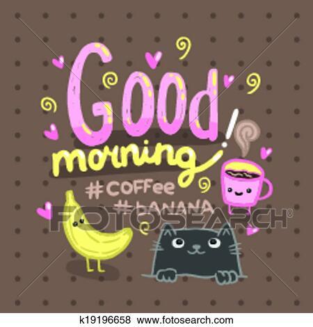 Guten Morgen Abbildung Mit Bohnenkaffee Cat Clip Art