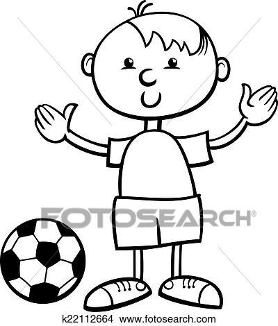 Clipart - niño, con, pelota, caricatura, colorido, página k22112664 ...