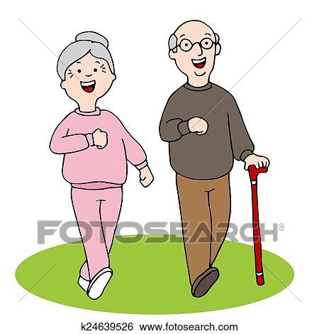 Senior Citizens Walking Clip Art | k24639526 | Fotosearch