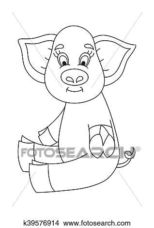 Clipart - vector, ilustración, de, lindo, cerdo, divertido, cerdito ...