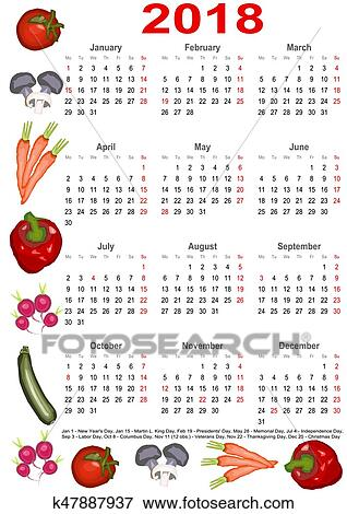 Clip Art Of Calendar 2018 For Usa With Various Vegetables K47887937