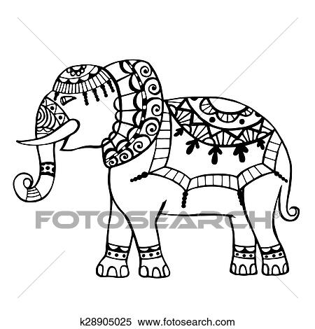 Carved elephant  Clipart