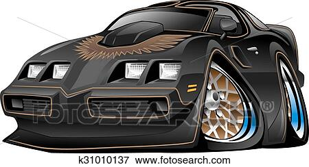 Clip Art Of Classic Black Muscle Car Cartoon K31010137 Search