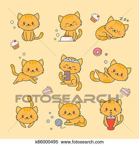 Cute Gatinho Kawaii Personagem Adesivo Set Gato Com Anime