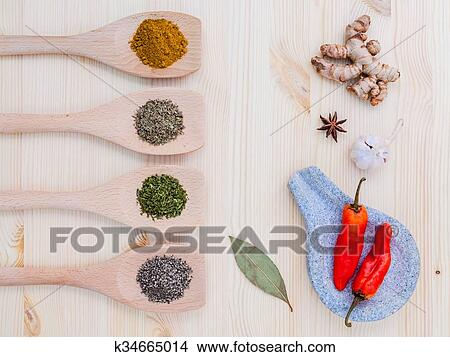 Food Cooking ingredients  Dried Spices herb cinnamon sticks, bay leaves,  ginger, turmeric, nutmeg, chili, black pepper, fennel and saffron with the