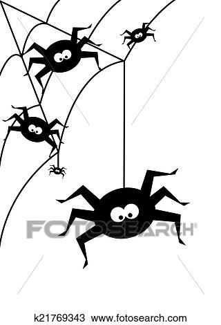 Dibujo Halloween Plano De Fondo Con Negro Aranas Encima - Dibujos-araas-halloween