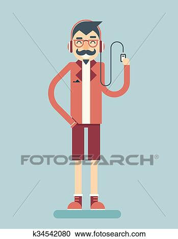 Clipart Of Happy Smiling Adult Man Geek Hipster Character Listen
