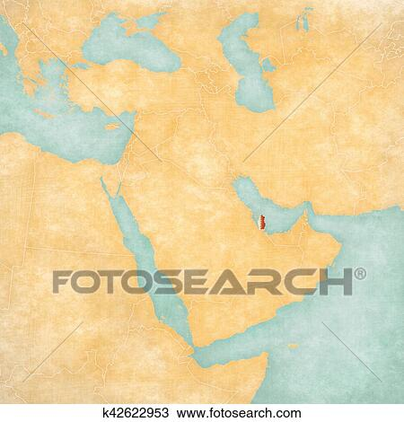 Stock Photo Of Map Of Middle East Qatar K42622953 Search Stock