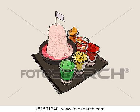 Clipart Of Red Shave Ice With Sala Flavor And Condensed Milk Set