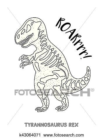 Schwarz Weiß Strichzeichnung Mit Dinosaurier Skelett Clipart