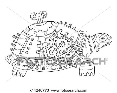 - Steampunk Style Turtle Coloring Book Vector Clipart K44240770 Fotosearch