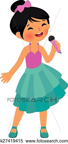 clipart of asian little girl singing k27419415 search clip art rh fotosearch com Woman Singing Silhouette Woman Singing Clipar