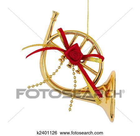 stock illustration of christmas trumpet k2401126 search clip art rh fotosearch com Christmas Bells Clip Art Christmas Horn Clip Art