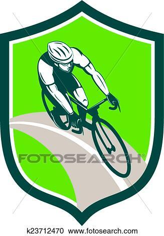 clipart ciclista cavaleiro bicicleta escudo retro k23712470